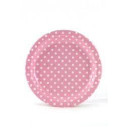 Roze kartonnen bordjes wit gestippeld
