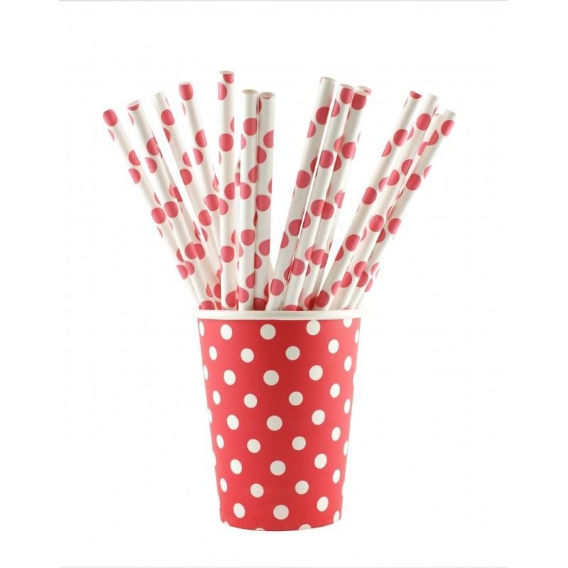 Papieren bekertjes rood met witte stippen