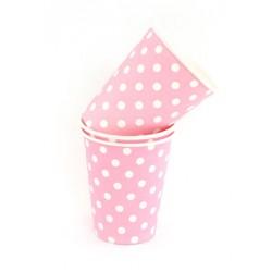 Papieren bekertjes roze met witte stippen