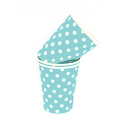 Paper cups light blue with white dots