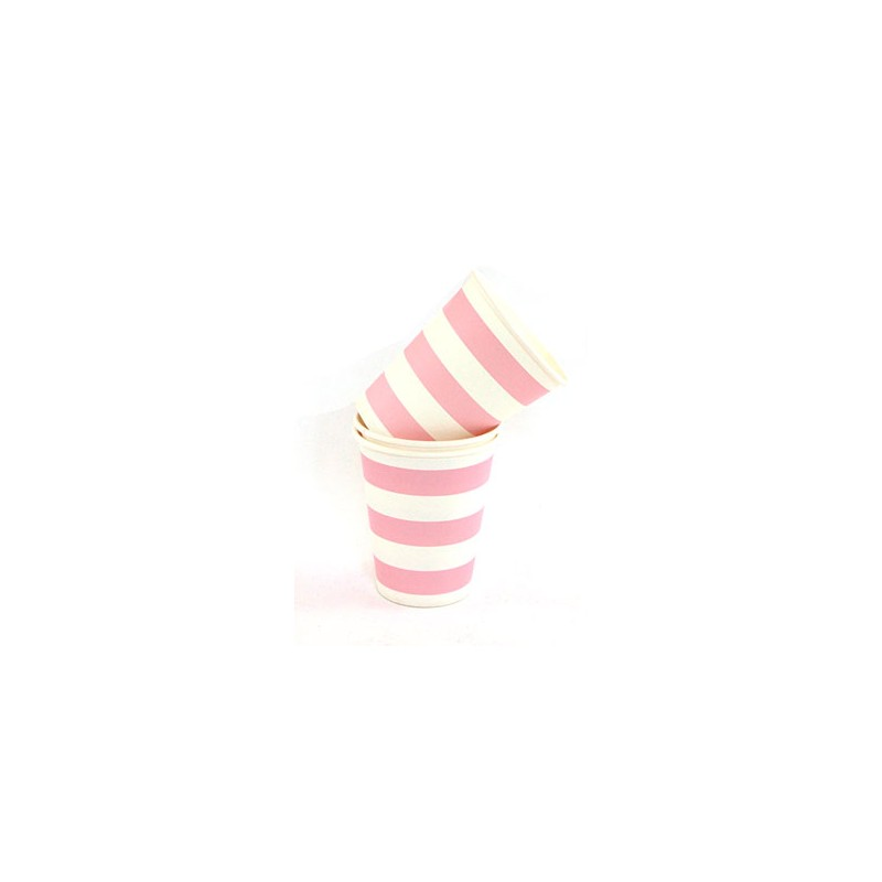 Papieren bekertjes roze/wit gestreept
