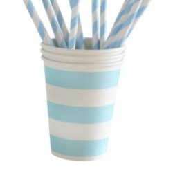Paper cups light blue striped