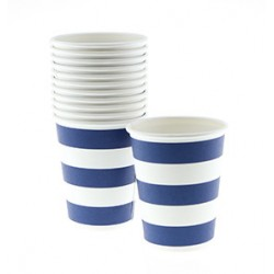 Paper cups navy blue striped