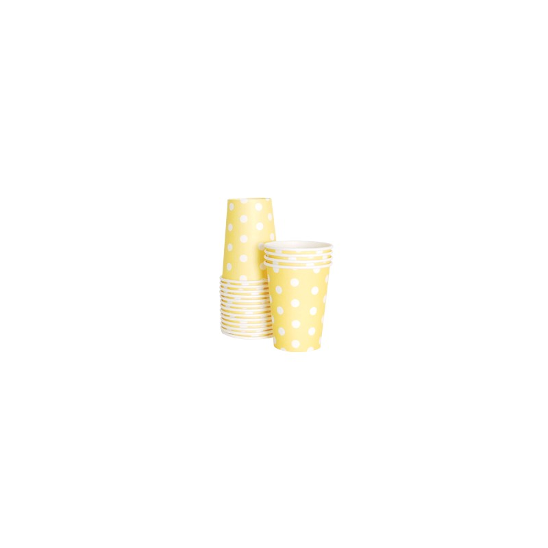 Papieren bekertjes geel gestippeld