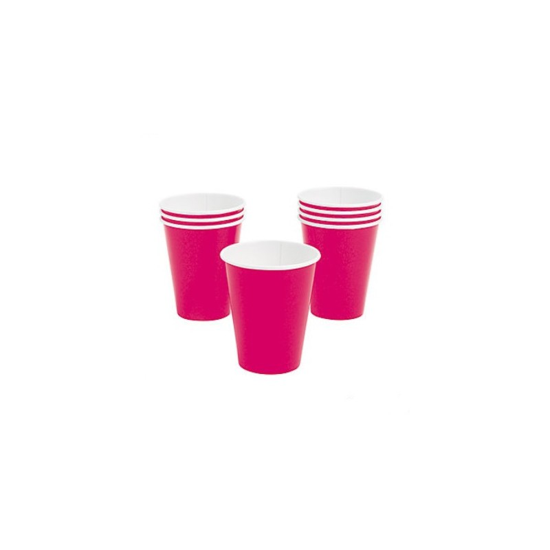 Paper cups hot pink