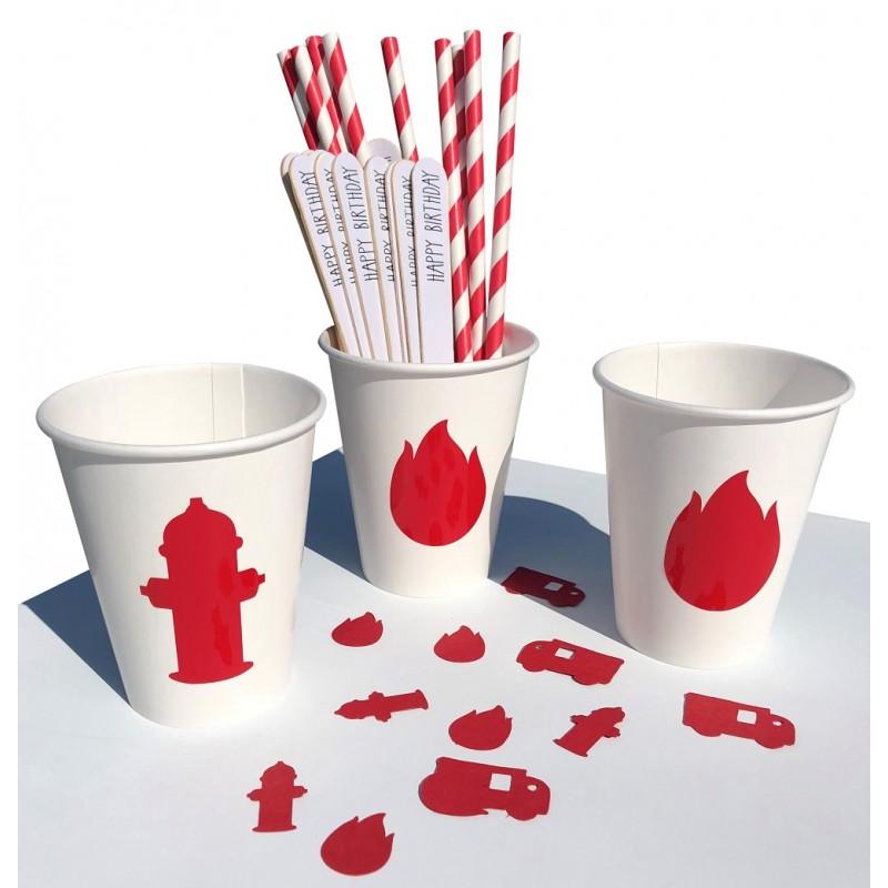 Bekertjes wit met rode bluspalen en vlammen