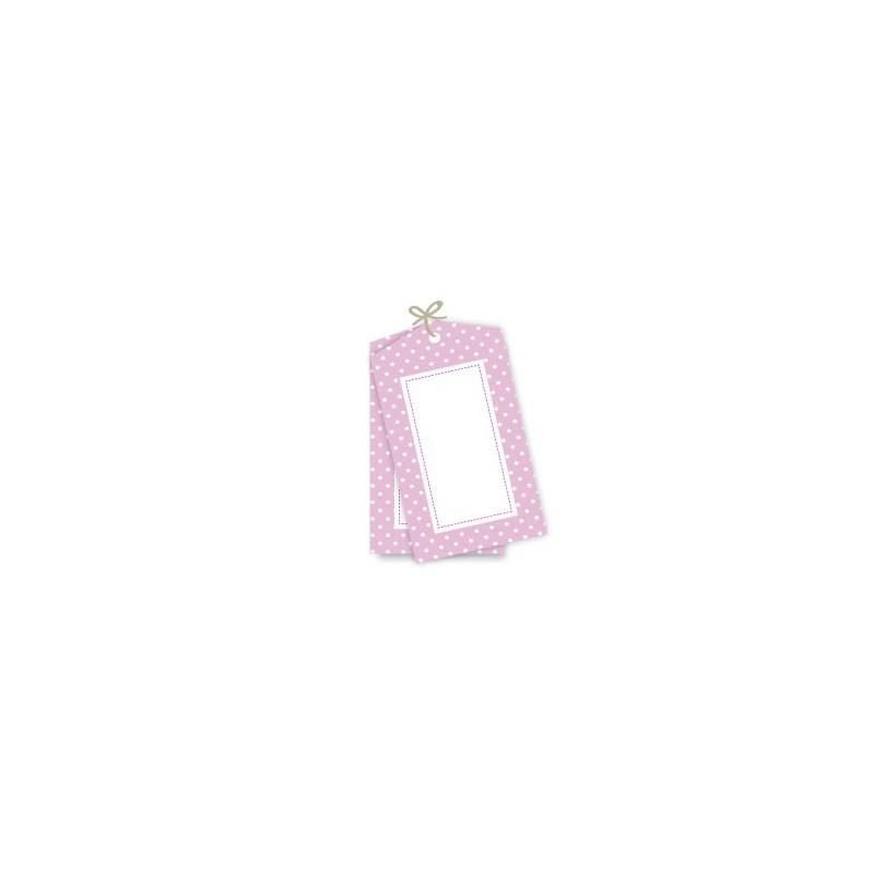 Kadolabels roze/wit gestippeld