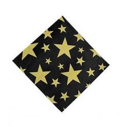 Servetten zwart met gouden sterren