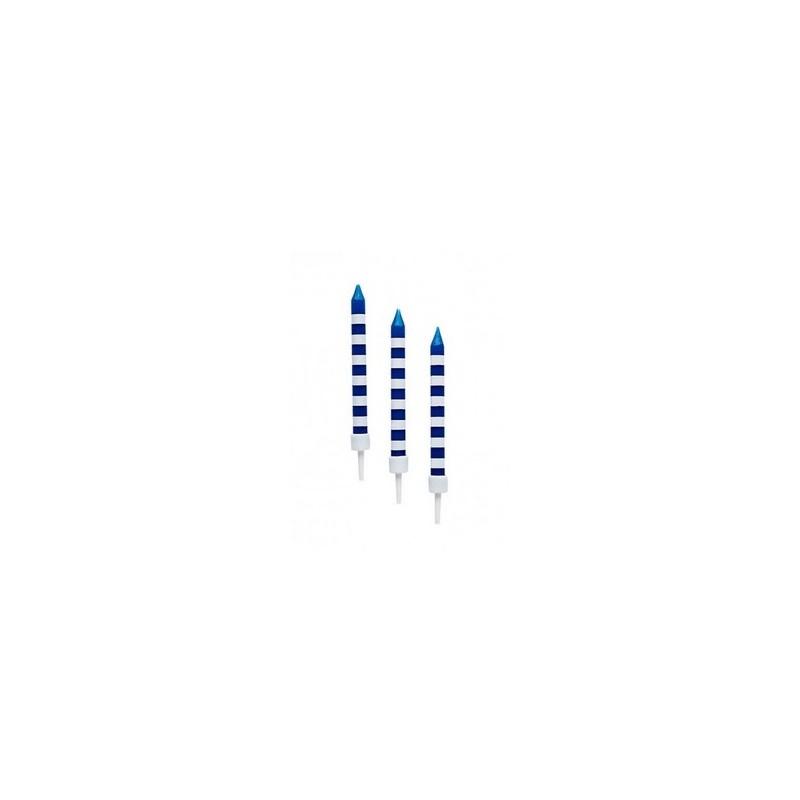 Kaarsjes marineblauw gestreept met houder