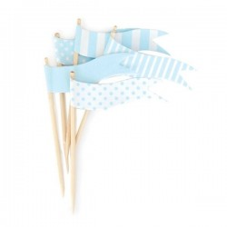 Cupcaketoppers blauwe vlaggetjes
