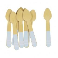 Little wooden spoons light blue striped