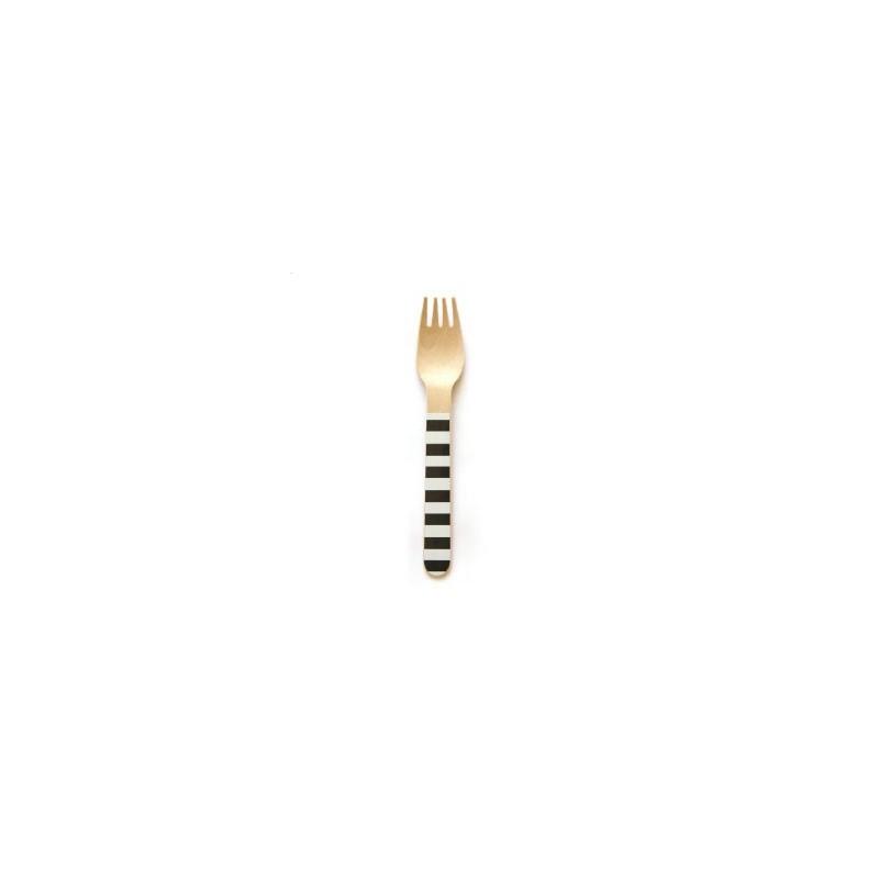 Wooden forks black striped