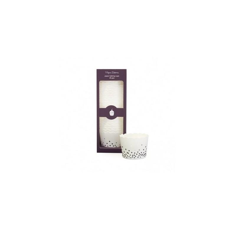 Cupcake bakjes zilver confetti