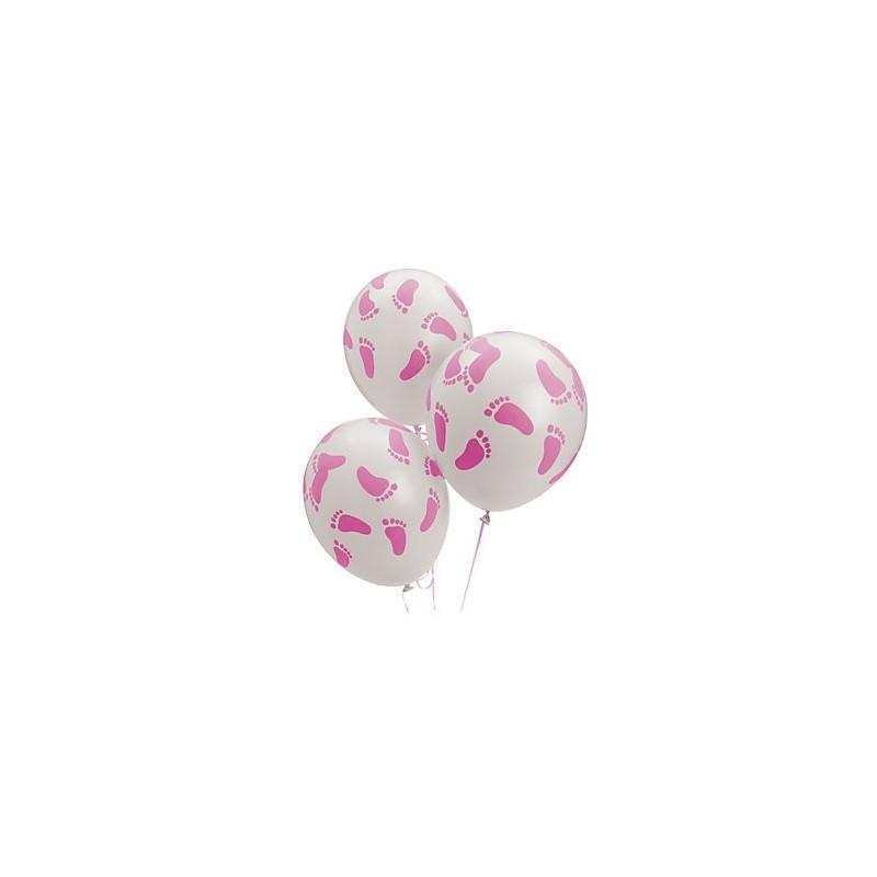 Witte ballonnen met roze voetjes