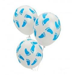 Witte ballonnen met blauwe voetjes