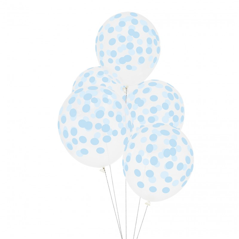 Doorzichtige ballonnen lichtblauw gestippeld