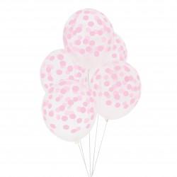 Doorzichtige ballonnen roze gestippeld