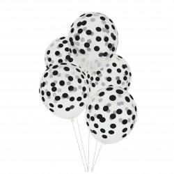 Doorzichtige ballonnen zwart gestippeld