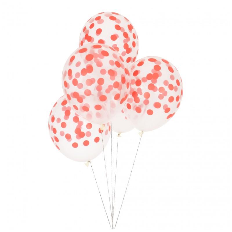 Doorzichtige ballonnen rood gestippeld