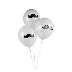 Witte ballonnen met snor