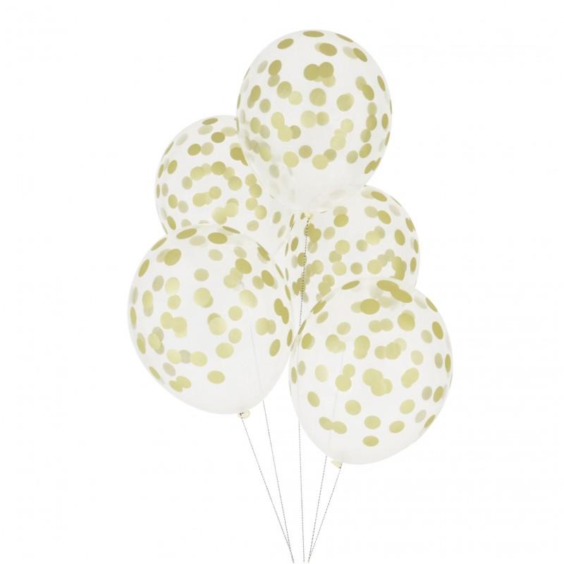Doorzichtige ballonnen goud gestippeld