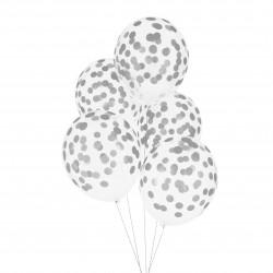 Doorzichtige ballonnen zilver gestippeld