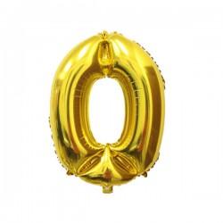 Folieballon nummer 0 goud