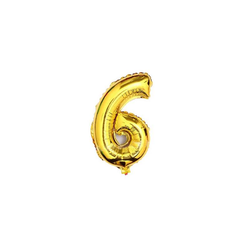 Folieballon nummer 6 goud