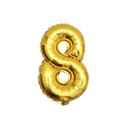 Folieballon nummer 8 goud