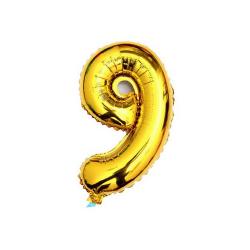 Folieballon nummer 9 goud