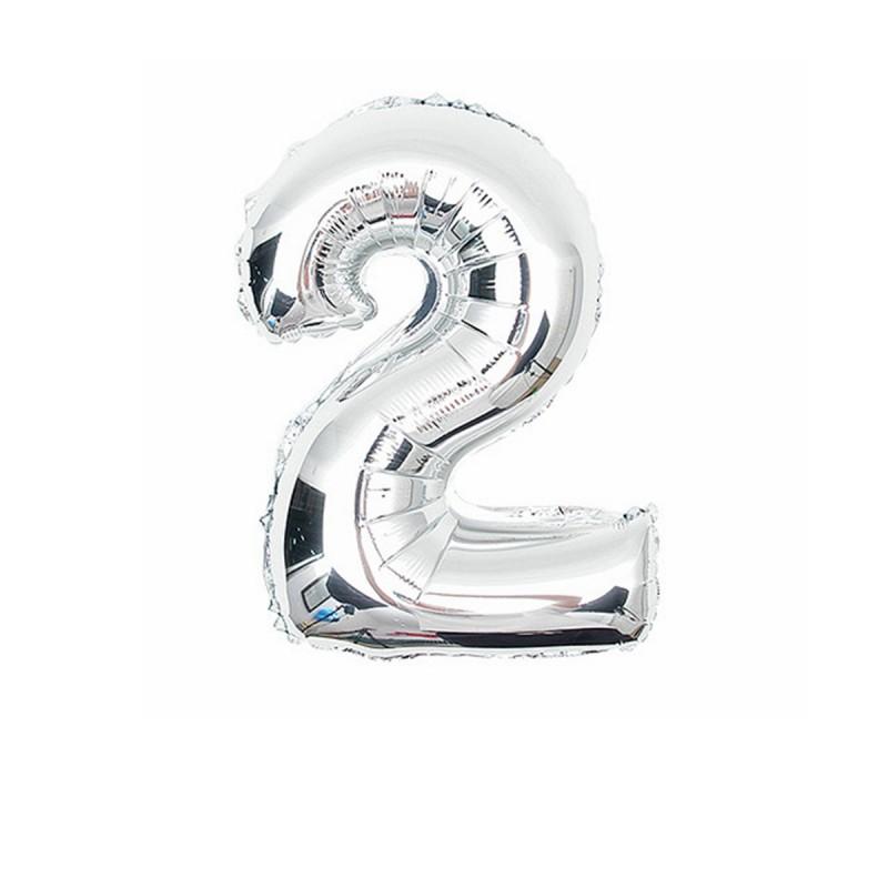 Folieballon nummer 2 zilver