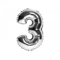 Folieballon nummer 3 zilver