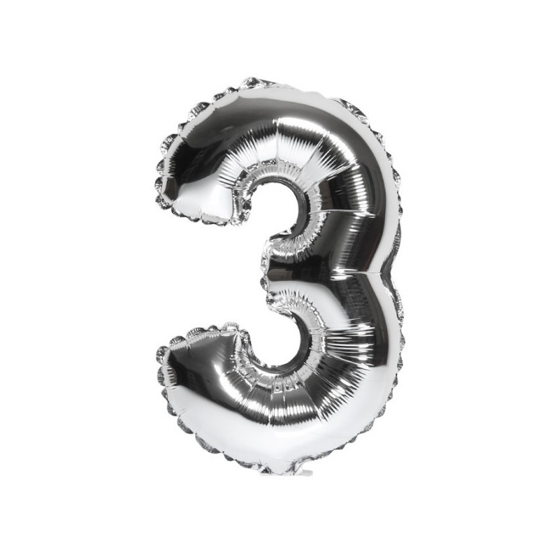 Foilballoon number 3 silver