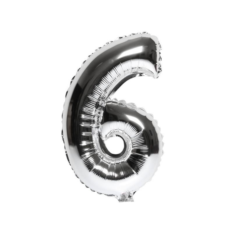 Folieballon nummer 6 zilver