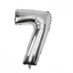 Folieballon nummer 7 zilver