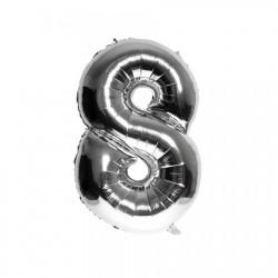 Folieballon nummer 8 zilver
