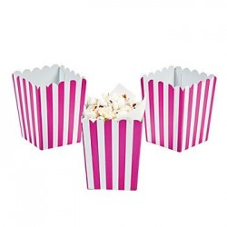 Kleine popcorn bakjes knalroze gestreept