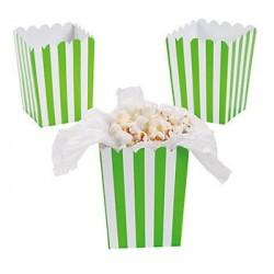 Kleine popcorn bakjes limegroen gestreept