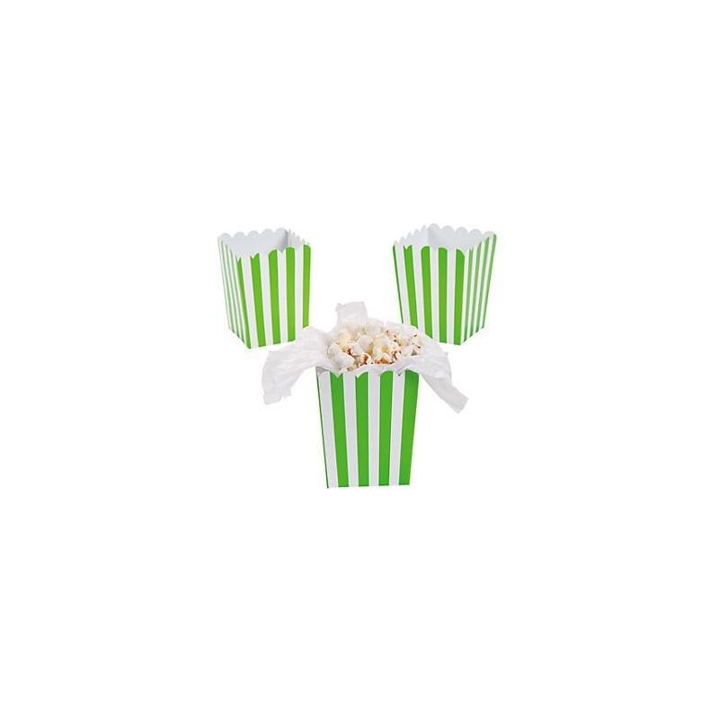 Mini popcorn boxes limegreen striped