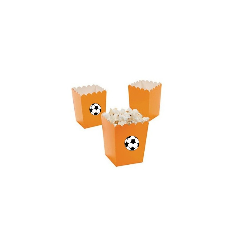 Kleine popcorn bakjes oranje met voetbal
