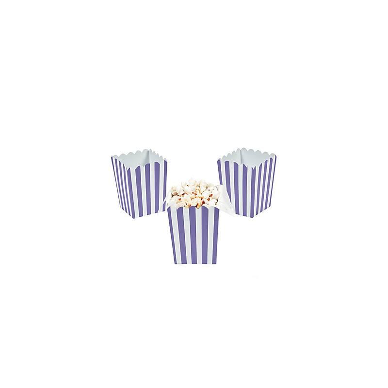 Kleine popcorn bakjes paars gestreept
