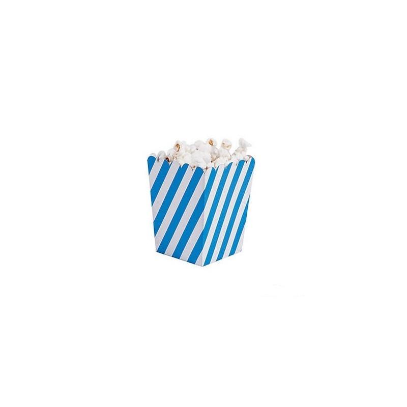 Kleine popcorn bakjes schuin blauw gestreept