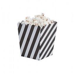 Kleine popcorn bakjes schuin zwart gestreept