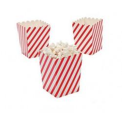 Kleine popcorn bakjes schuin rood gestreept