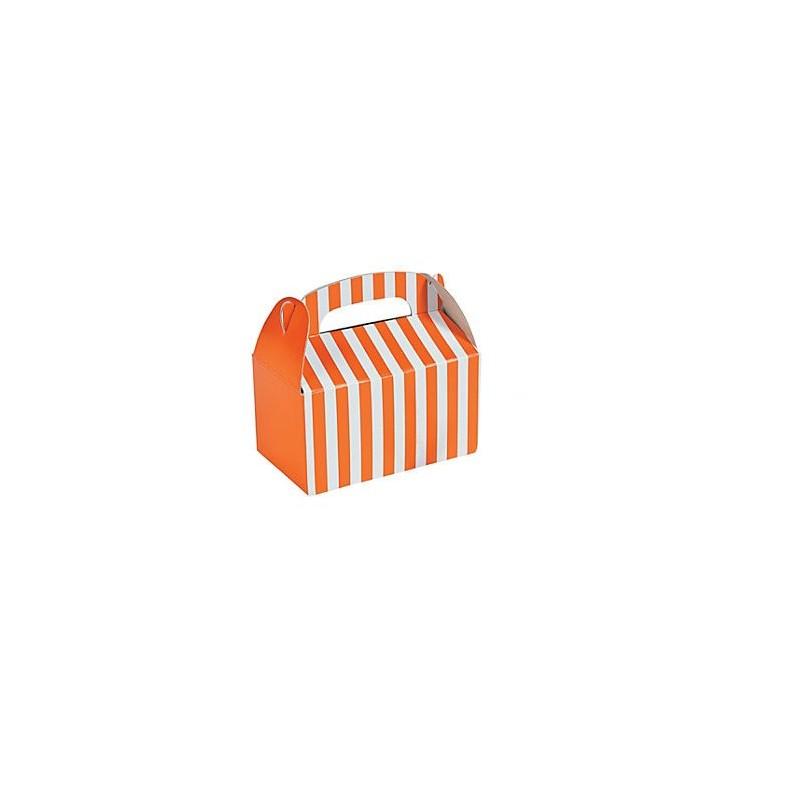 Kleine traktatie doosjes oranje gestreept