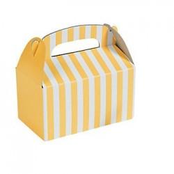 Kleine traktatie doosjes geel gestreept