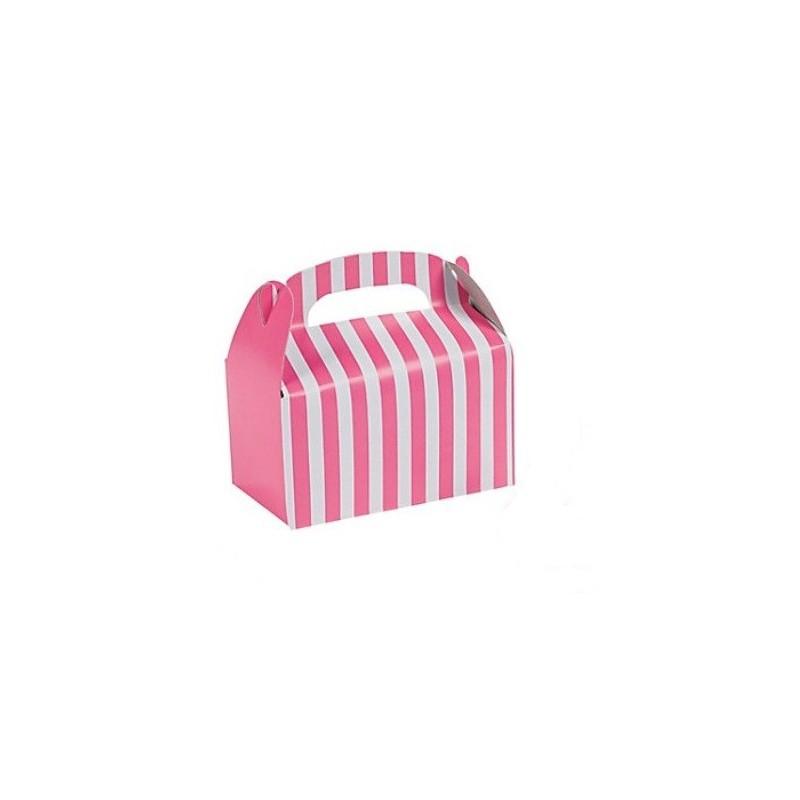 Kleine traktatie doosjes roze gestreept