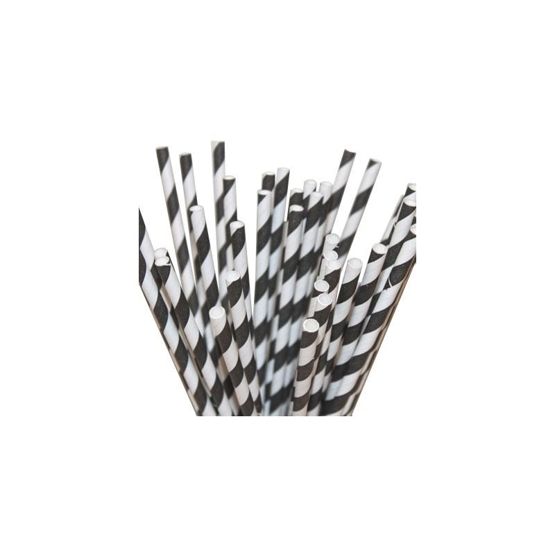 Paper straws black striped